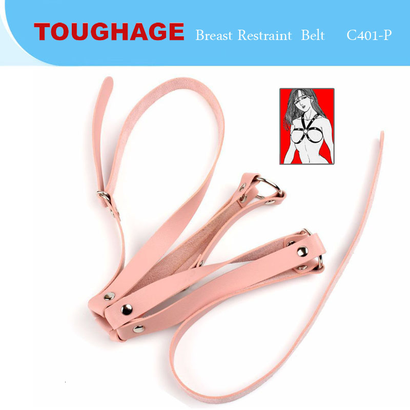 New Breast Restraint Slave Girls SM Bondage Leather Chastity Belt Erotic Fetish Clothing Body Harness Adult Game TOUGHAGE Red