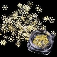 1 boîte ongles paillettes noël or flocons de neige Nail Art paillettes poudre poussière flocons 3D charme décoration UV Gel vernis conseils JI889