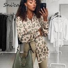 Женская атласная блузка Snican, Офисная рубашка с леопардовым принтом, длинным рукавом и отложным воротником, весна 2021