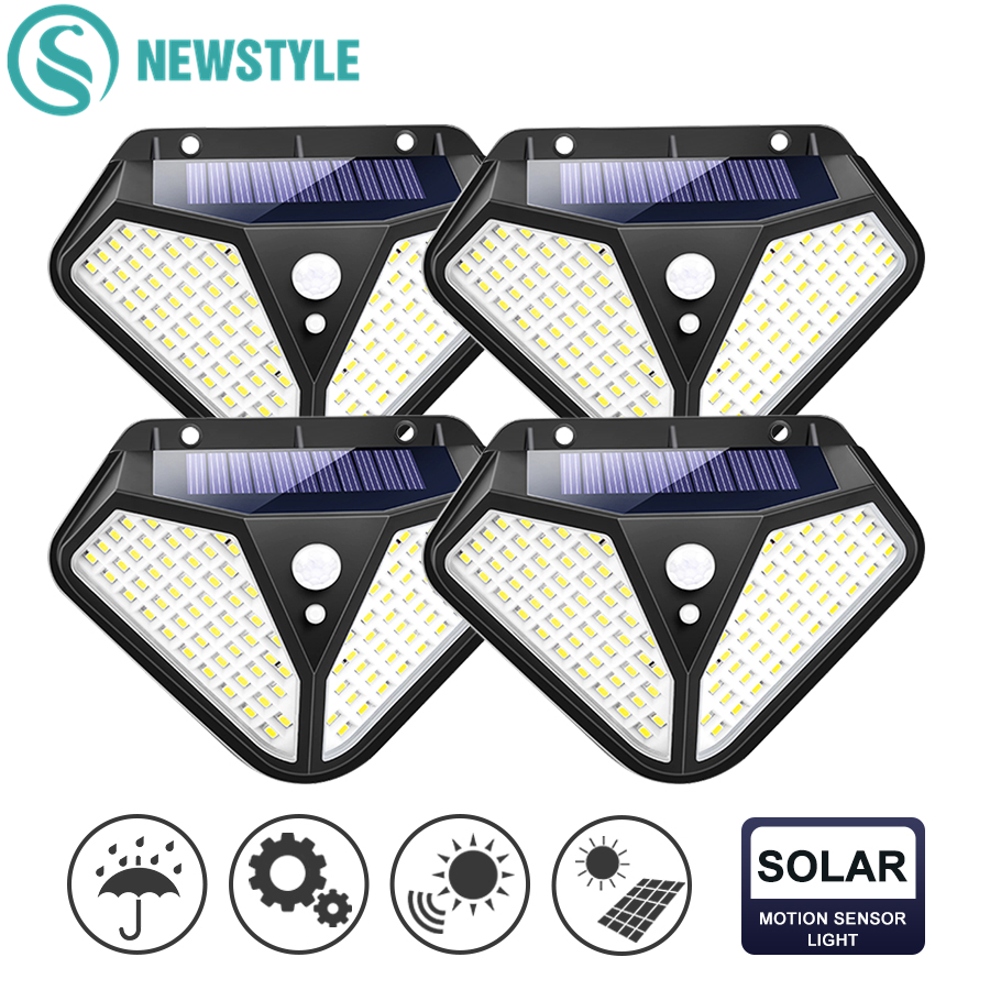 102 100 LED Solar Powered Light 3 Modes PIR Motion Sensor Solar Wall Lamp Outdoor Waterproof Garden Yard Security Lights