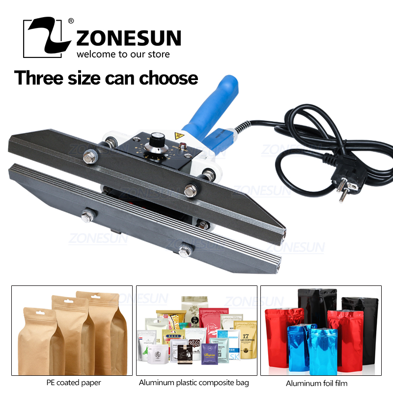 ZONESUN FKR400 Hand Impulse Sealer with Cutter Handheld Heat Impulse Sealer Manual Foil Bag Sealing Machine sealer sealer machine   - title=