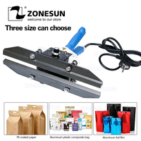 Zonesun fkr400 aferidor do impulso da mão com cortador handheld aferidor do impulso de calor manual máquina selagem do saco da folha