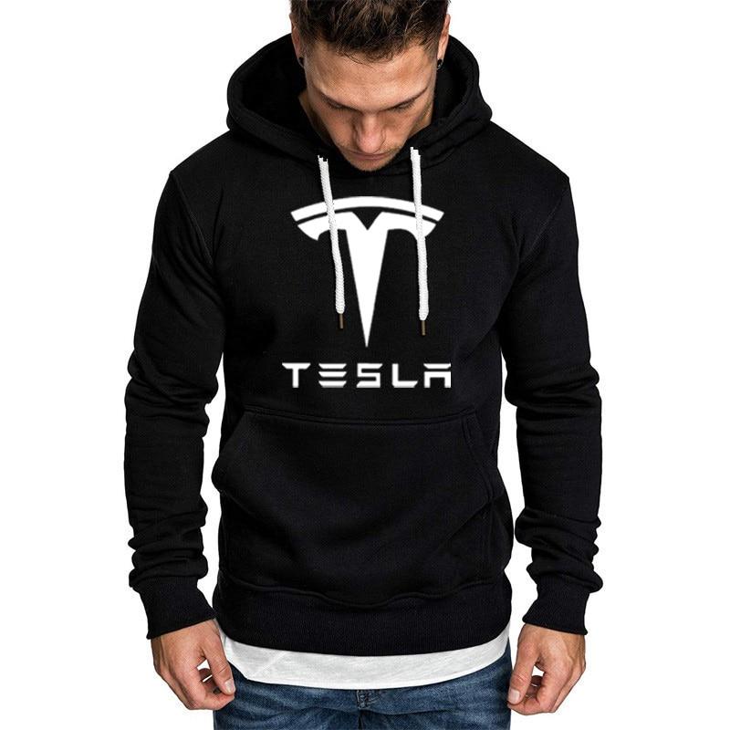 Hoodies Men Tesla Car Logo Print Sweatshirt Spring Autumn New Fashion Men Hoodie hip hop harajuku Casual Hoody Fleece tracksuit