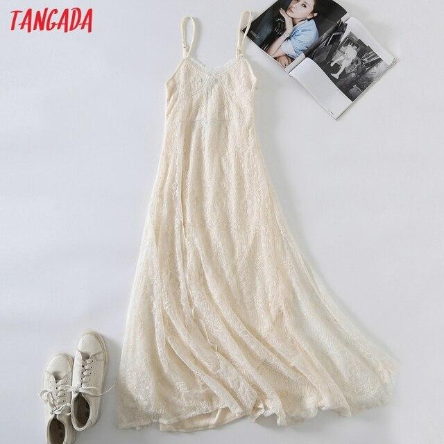 Tangada 2021 Women Beige Embroidery Romantic Long Dress Strap Adjust Females Maxi Dresses Vestidos 6H51 1
