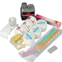 лучшая цена Acrylic Nail Art Set Liquid Polymer Powder UV Gel Tips Forms Manicure Tool Kit Nail Gel