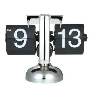 Image 5 - Flip דיגיטלי שעון קטן בקנה מידה שולחן שעון רטרו Flip שעון נירוסטה Flip הפנימי Gear מופעל קוורץ שעון בית תפאורה