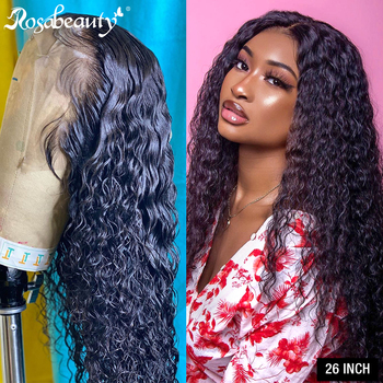 Rosabeuty 8-26 Inch Curly 360 Lace Frontal Wig Pre Plucked 250 Density Lace Front Human Hair Wigs For Black women Deep Wave Remy