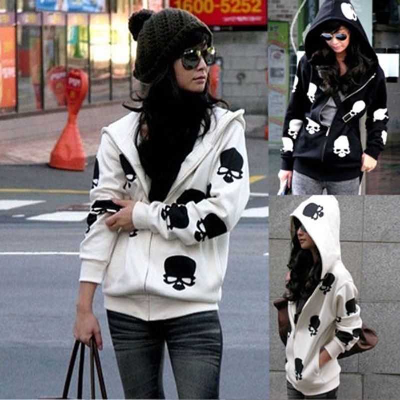 2020 New Product Women's Skull Zipper Hooded Fashion Casual Hoodies Jacket Coat Tops Harajuku Female