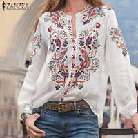Bohemian Gedruckt Tops frauen Herbst Bluse ZANZEA 2019 Plus Größe Tunika Mode V-ausschnitt Langarm Shirts Weibliche Casual blusas