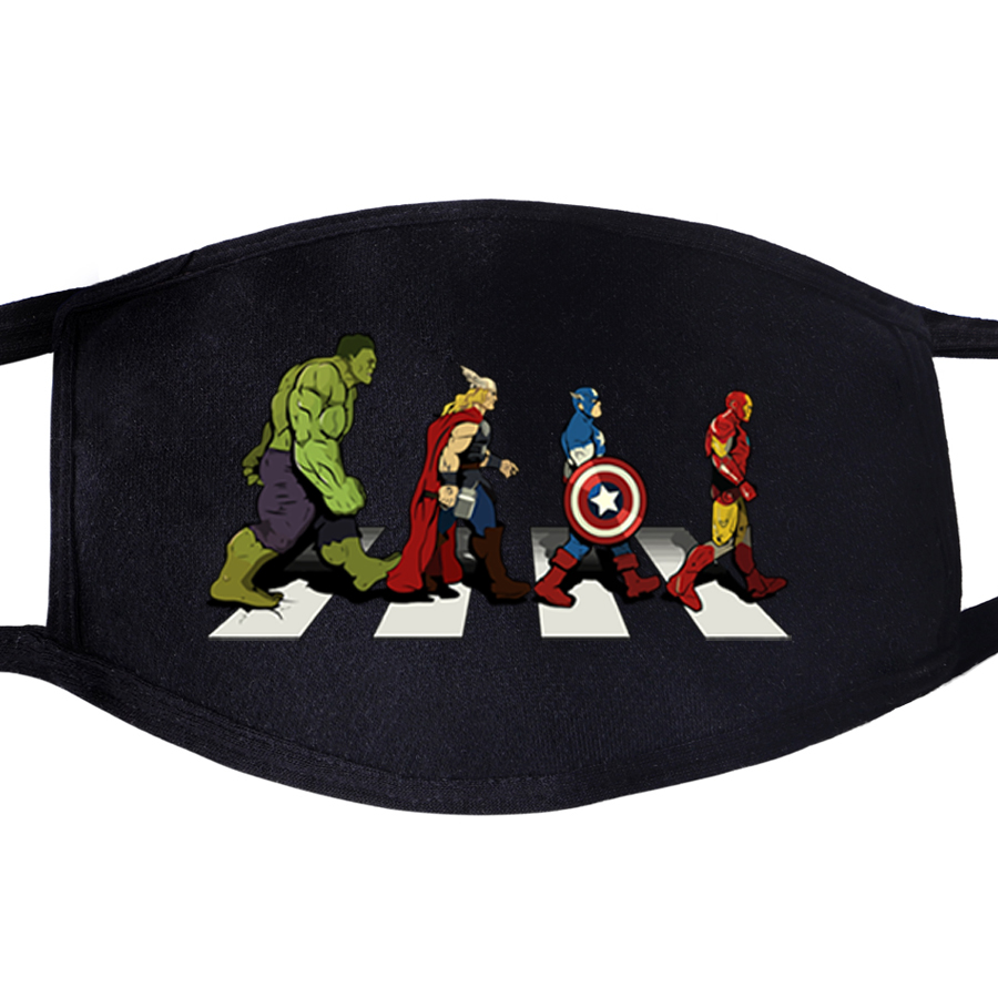 Superhero The Avengers Face Masks Mouth Fabric Anti Dust Unisex Black Muffle Dustproof Facial  Cover Mask