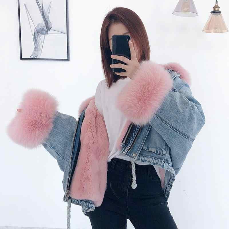 Gola de pele de raposa denim jaqueta inverno feminino solto casaco de pele curto jeans removível pele de coelho forro grosso outwear