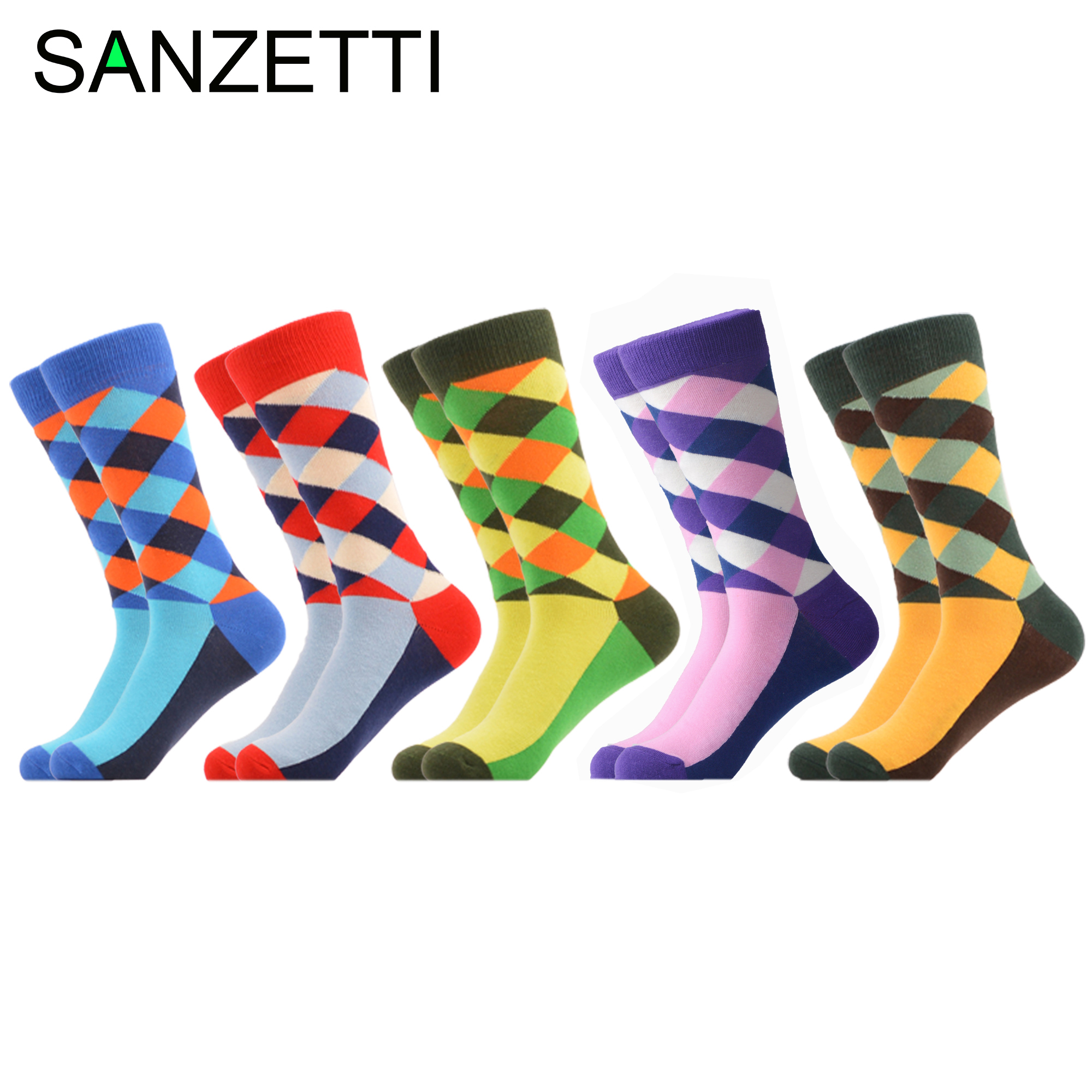 SANZETTI 5 Pair/Lot Colorful Socks Men's Casual Combed Cotton Socks Crew Socks Funny Geometric Novelty Bright Plaid Dress Socks