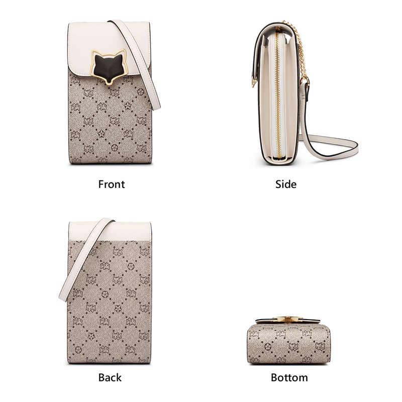 FOXER 숙 녀 캐주얼 전화 가방 여자의 미니 메신저 가방 대용량 다층 숄더 가방 여성 가죽 크로스 바디 가방