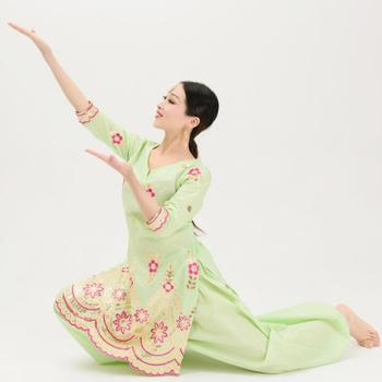 القطن الهند التطريز البنجابية امرأة تقليدية لينها ساري اليوغا زي قطعتين الأعلى السراويل 2