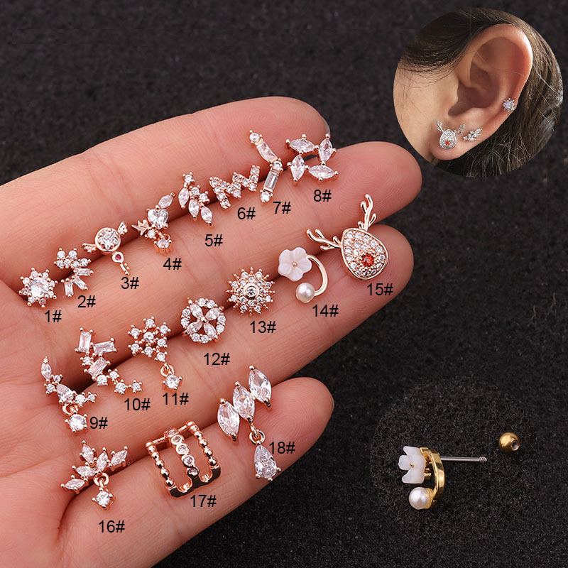 1pc Flower Elk Rose Gold Color Cz Ear Studs Helix Piercing Cartilage Earring Conch Rook Tragus Stud Ear Piercing Jewelry