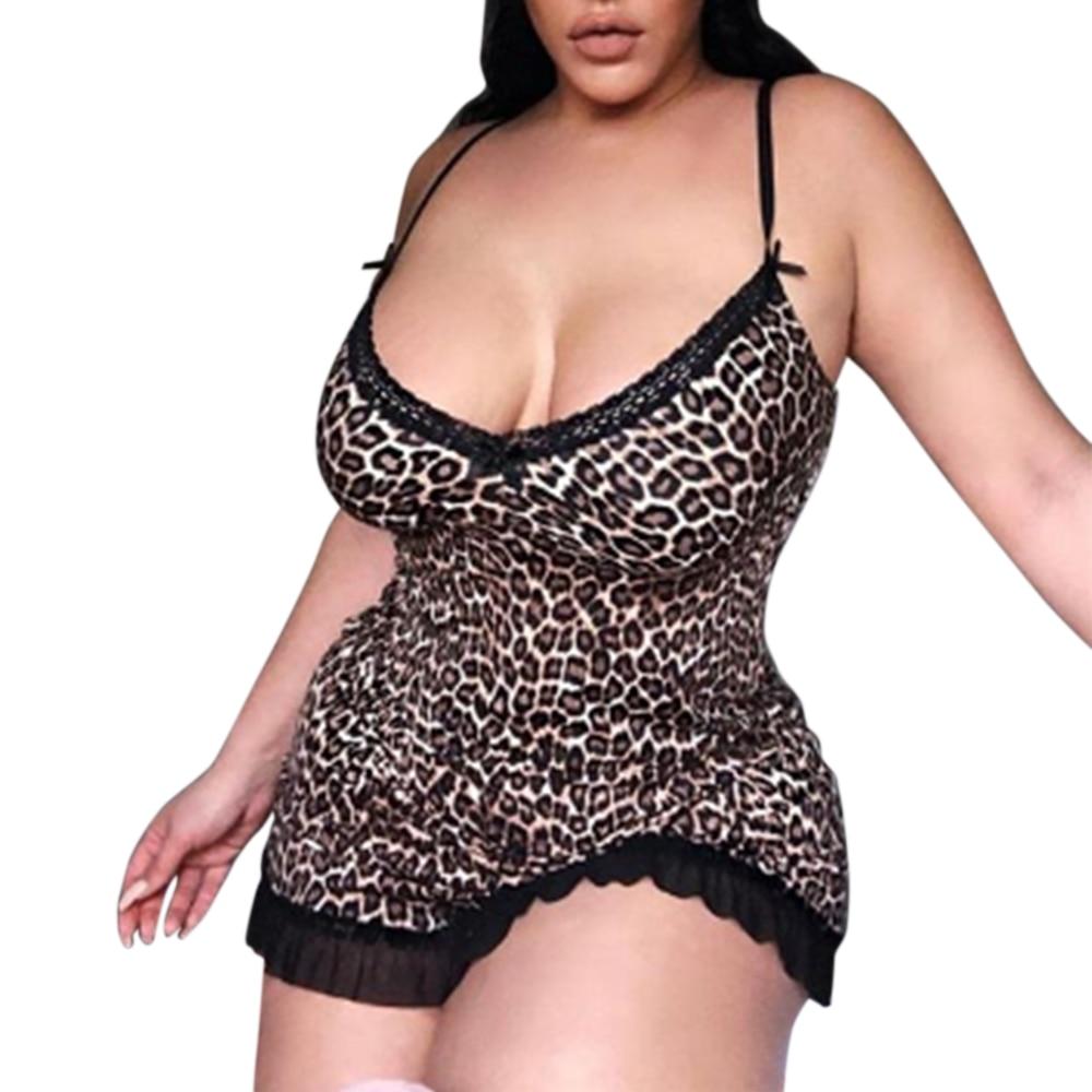 5XL Large Size Women Sexy Lingerie One piece Bodysuit Porno Leopard Print Sleepwear Underwear Teddy Nightwear Nightdress Babydolls & Chemises  - AliExpress