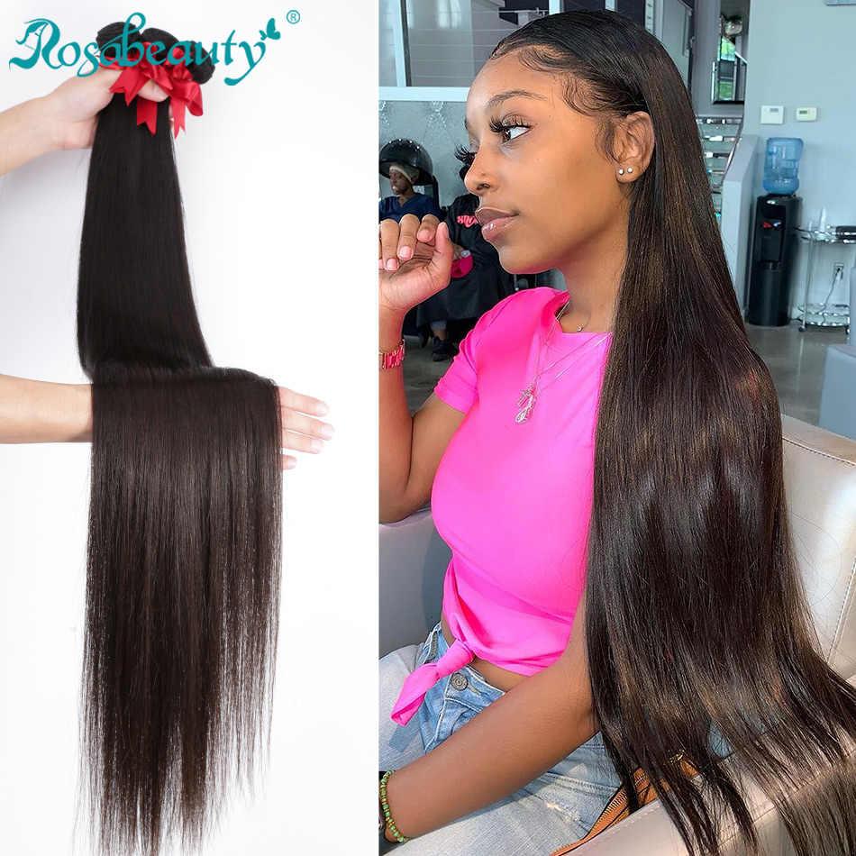 RosaBeauty 28 30 32 40 inç doğal renk brezilyalı saç örgü 1 3 4 demetleri düz % 100% Remy insan saçı postiş atkı fiyatları