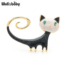 Эмалированные Броши wuli & baby броши кошки 2021 Новый год животное