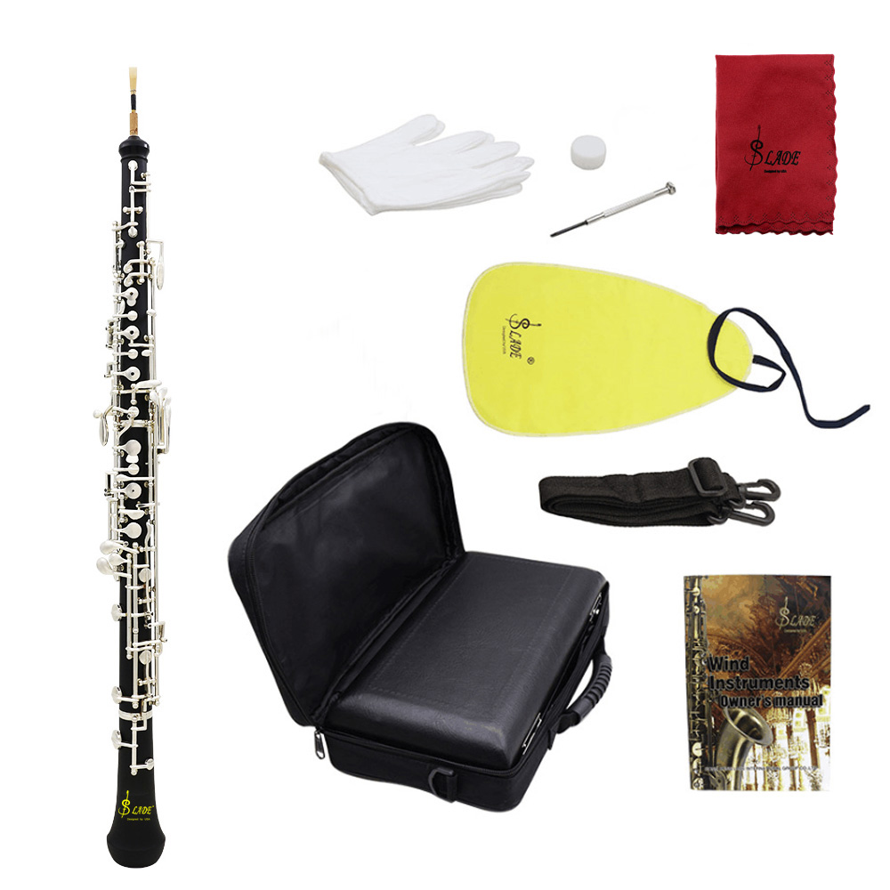 Professional C Key Semi Auto Oboe Cupronickel Plated Silver With Reed Gloves Cleaning Cloth Screwdriver Leather Case Bag Strap
