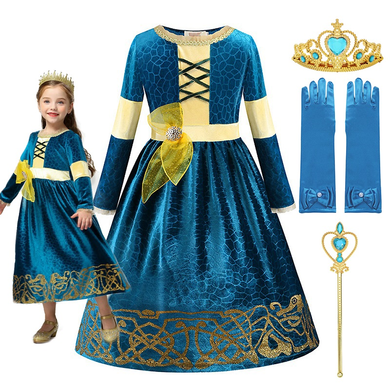 MUABABY Girls Merida Princess Dress Up Costume Brave Deluxe Halloween Fancy Frocks Dark Green Children Party Clothes for 2-10T
