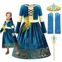 Muaby meninas merida princesa fantasiar-se traje bravo deluxe halloween fantasia vestidos verde escuro crianças roupas de festa para 2-10 t