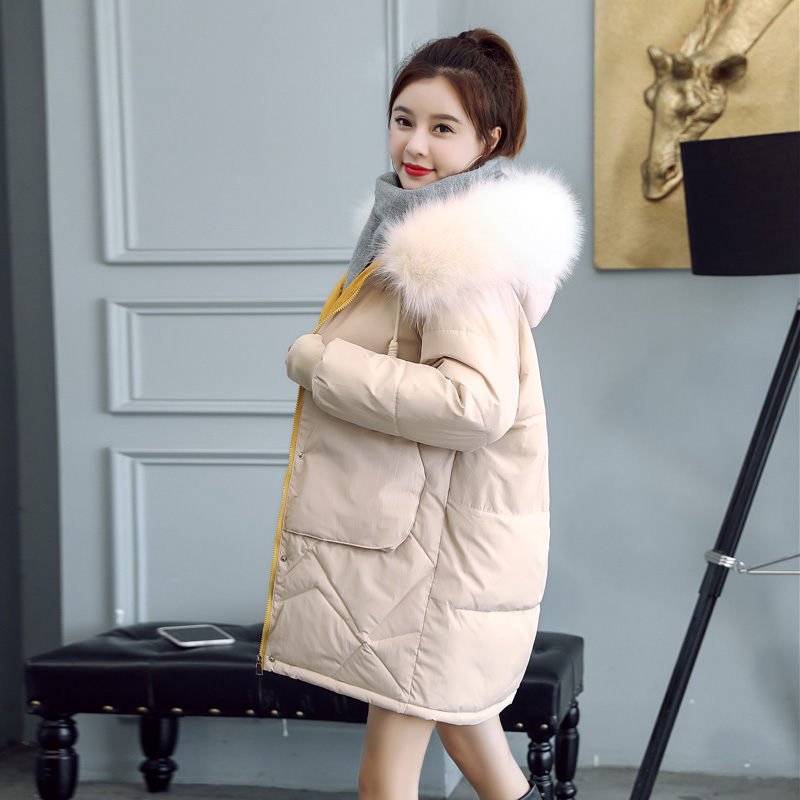 New Causal Solid Fur Collar Hooded Winter Jacket Women Warm Thick Medium Long   Parkas   Ladies Autumn Jacket Coat
