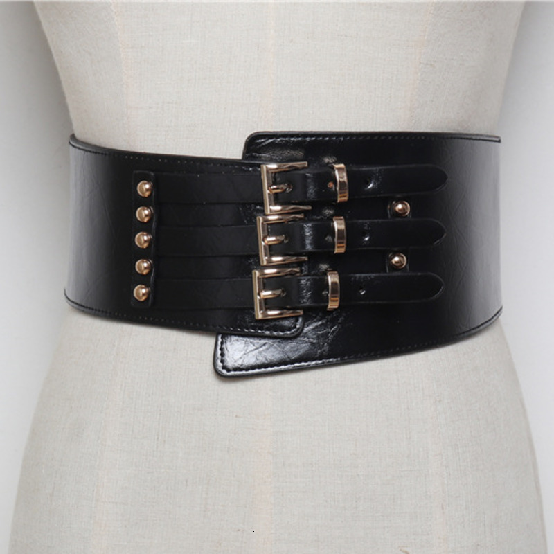 TVVOVVIN 2020 Korean Version Of The Wild Three-row Pin Buckle Elastic Waistband With Shirt Wide Belt Female PC230