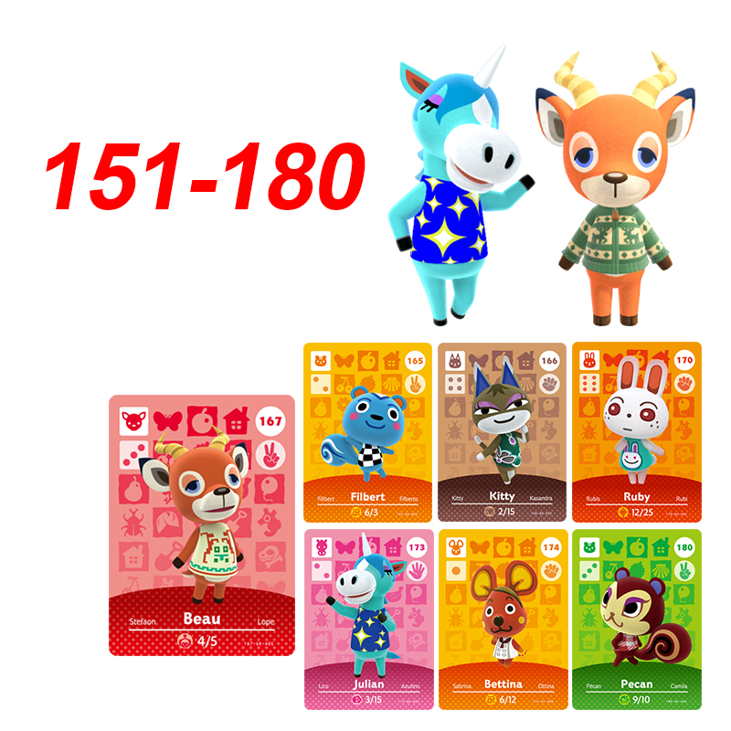 151 to 180 Animal Crossing New Horizons Amiibo Hot Villagers Julian Beau Filbert Ruby Amiibo Card Series 2 For nintendo switch image