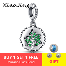 XiaoJing Genuine 100% 925 Sterling Silver Tree Leaves Green CZ Charm Beads fit Pandora Women Charm Bracelets DIY Jewelry Making стоимость