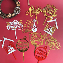 Topper Letters Christmas-Cake-Decorations Merry-Christmas Acrylic Cake Party Hot