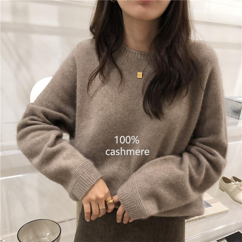 2019 Autumn Winter Cashmere Sweater Women Fashion Round Neck Sweater Loose 100% Wool Sweater Batwing Sleeve Plus Size Pullover