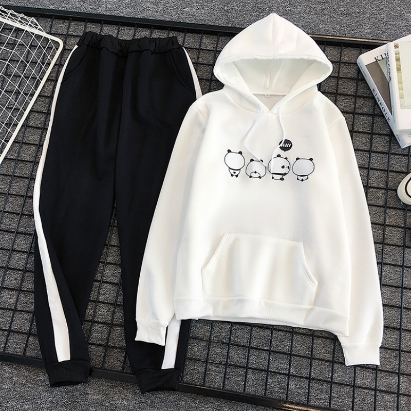 8 Color Tracksuit Sets Women 2 Piece Set Kawaii Hoodies Sweatshirts Top +drawstring Pants Matching Suit Female Winter Clothing