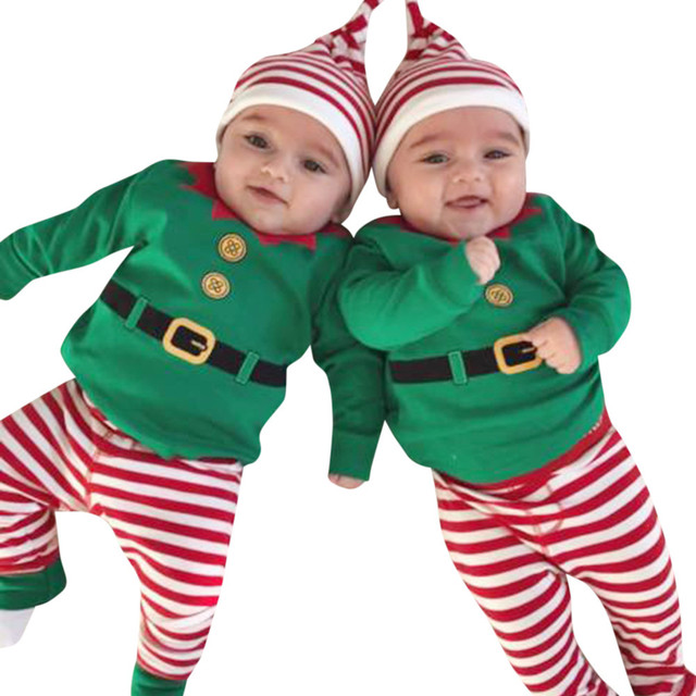 Infant Baby Boy Girls Christmas Outfits Set Romper Tops Shirt+Long Pants+Hat AE