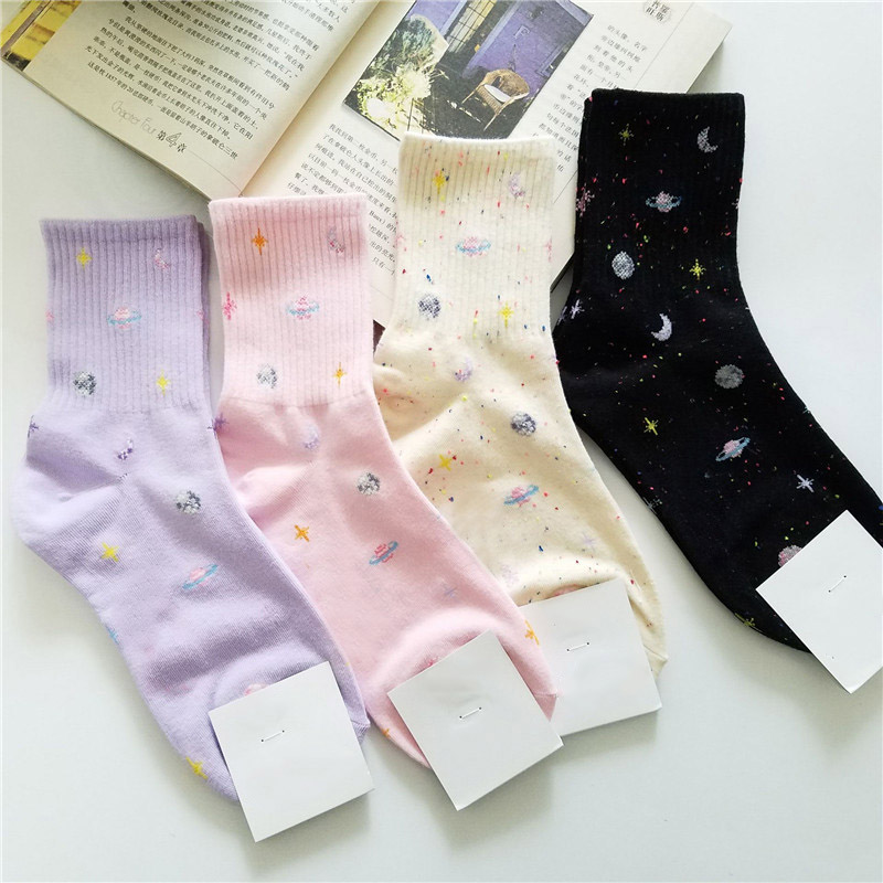 Harajuku  Funny Socks Japanese Creative Moon Stars Socks Women Warm Cute Novelty  Winter Women  Pink  Christmas Socks  Cheap
