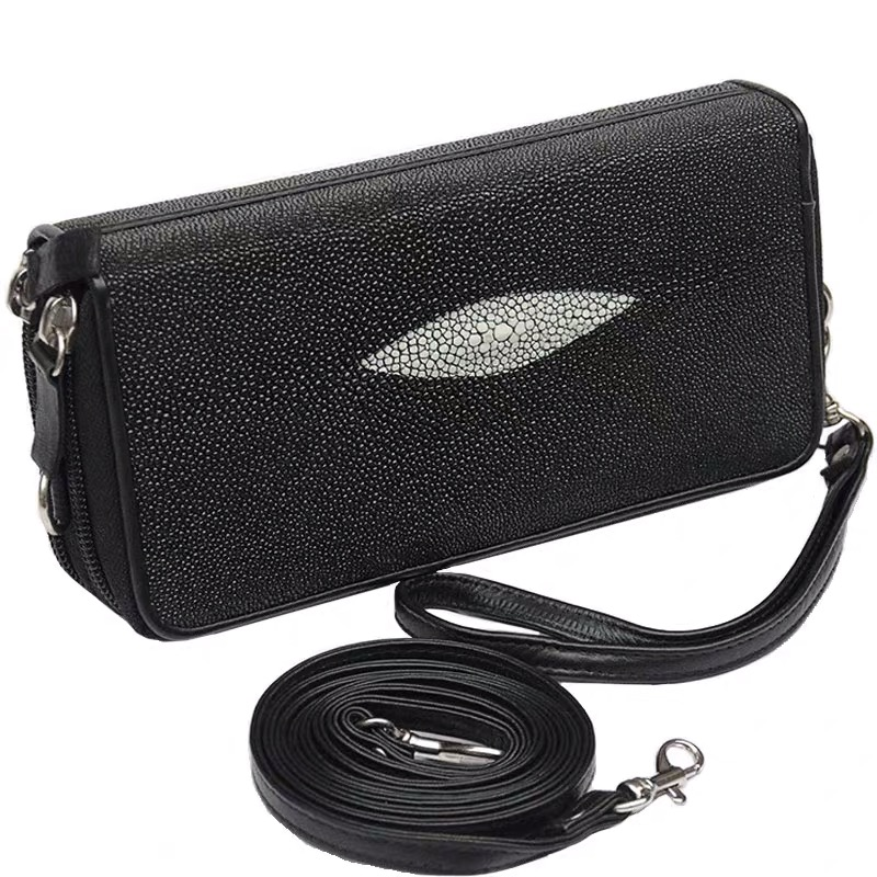 Authentic Real Stingray Skin Women's Wristlets Bag Genuine Leather Female Phone Clutch Purse Lady Small Cross Body Shoulder Bag