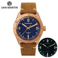 San Martin Relojes de bronce para hombre, reloj de pulsera de buceo automático, de cristal de zafiro, mecánico, resistente al agua