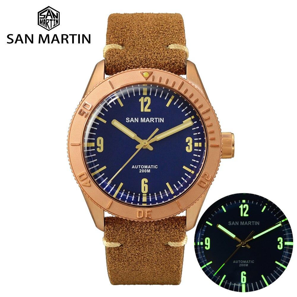 San Martin New Cusn8 Bronze Watches Automatic Diving Wristwatch Sapphire Glass Men's Mechanical Watch Relojes Water Resistant
