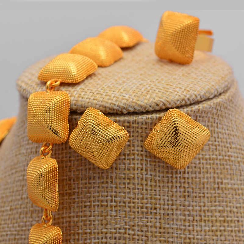 חדש האתיופית דובאי זהב צבע תכשיטי סטי חתונה נשים שרשראות עגילי תכשיטי סטי Eritrean תכשיטי מתנות