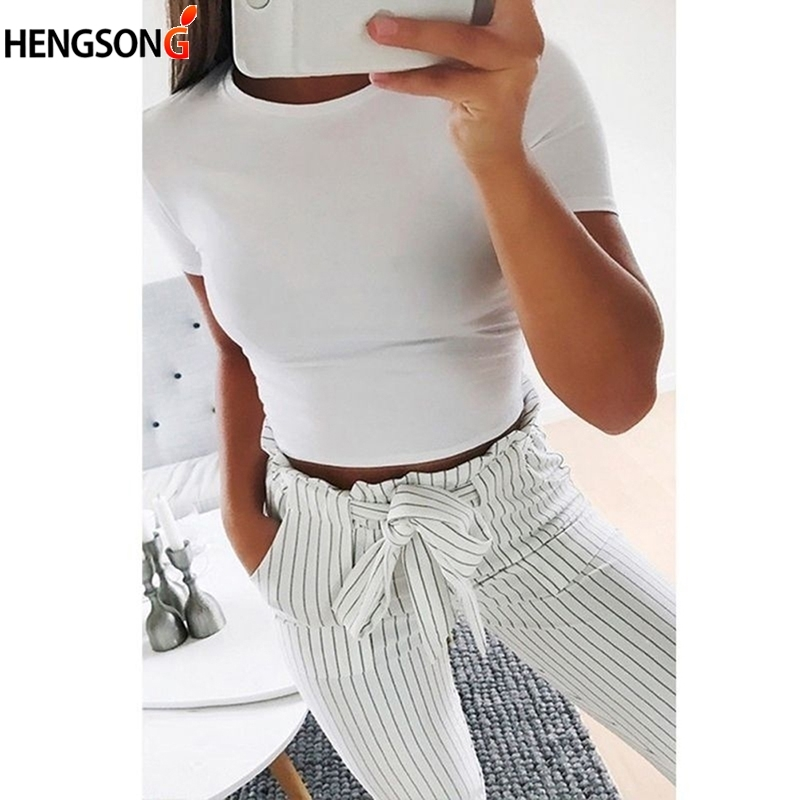 Summer Women Fashion Crop Top Shirt Solid Color O-Neck Short Sleeve T-shirt  Casual Tees Basic Black White
