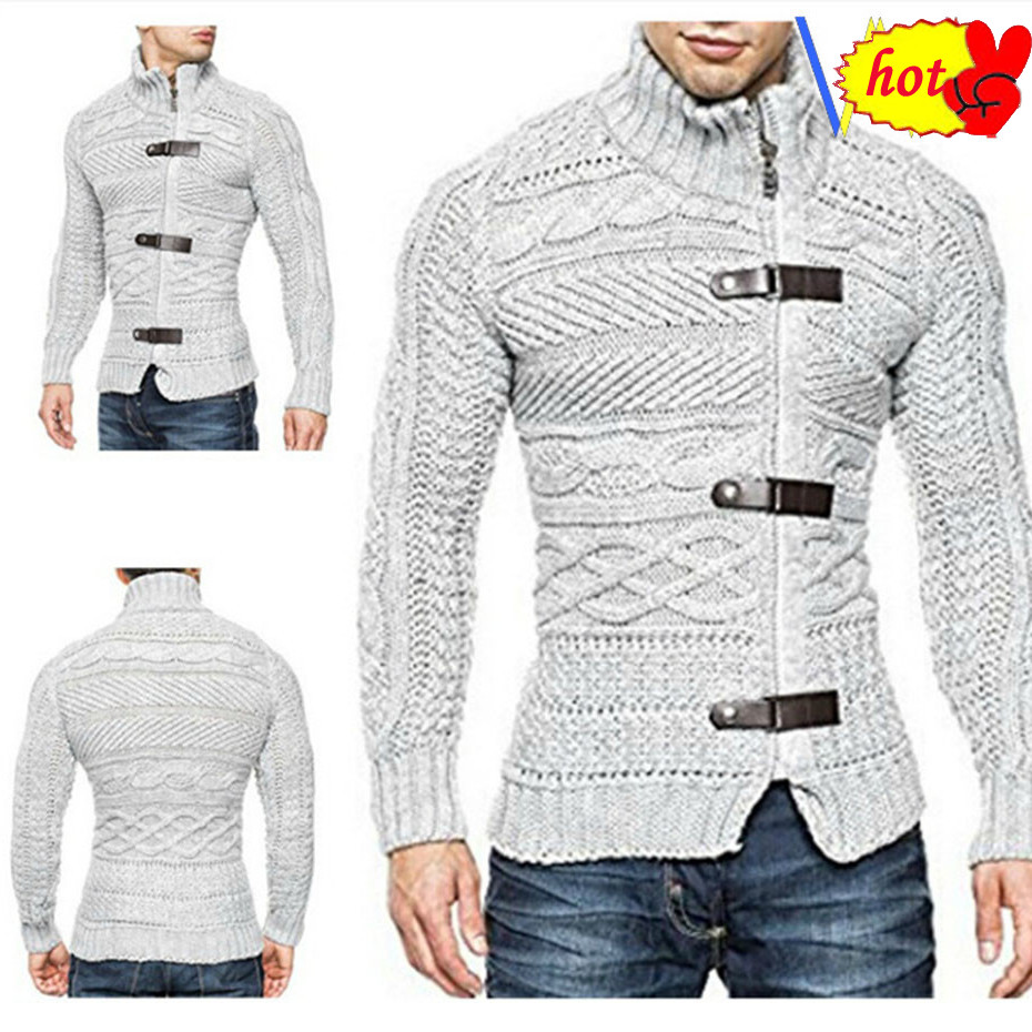 Mens Autumn Winter Sweater Coat Casual Warm Sweater Cardigan Men Solid Turtleneck Slim Fit Knitting Thick Clothes Sweater