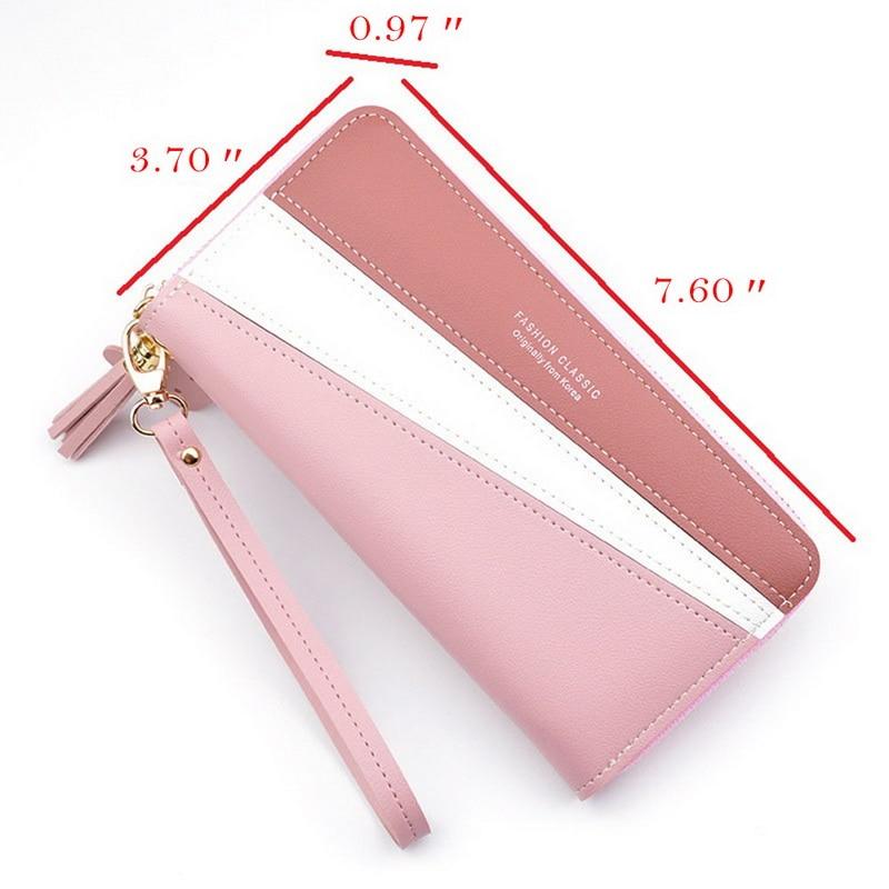 Women's Zipper Closure Spliced Wrist Strap Tassel Wallet For Girls New  Fashion Phone Coin Long Purse Card Holder