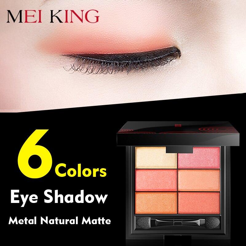 MEIKING 6 Cores Da Sombra de Olho Paleta de Maquiagem Em Pó de Alta Qualidade Olhos De Metal Fosco Natural Nu EyeShadow Cosméticos Escova & Espelho