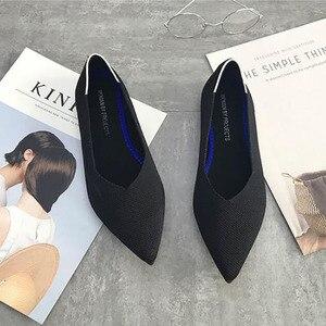 Image 5 - ポインテッドトゥのバレエ女性30色女性にフラットシューズウールニット妊娠中の女性のローファーの靴モカシン
