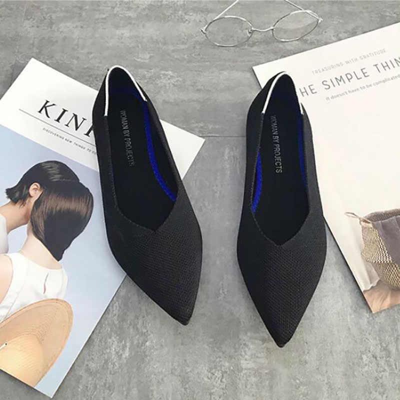 Zapatos planos de Ballet de punta estrecha para mujer 30 colores deslizantes en zapatos planos de las señoras de lana de punto para mujeres embarazadas mocasines zapatos mocasines