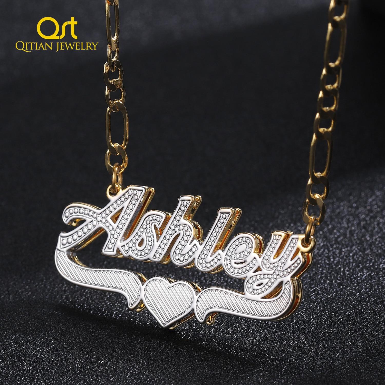 Angepasst Name Halskette Doppel 18K Gold überzogene Typenschild 3D Halskette Personalisierte Choker Frauen Doppel schicht Name Halskette Geschenke