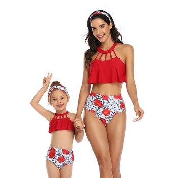 Sexy Bikini de cintura alta 2020 de talla grande traje de baño de dos piezas para mujeres y niñas traje de baño traje de cuerpo Bikinis set mayo