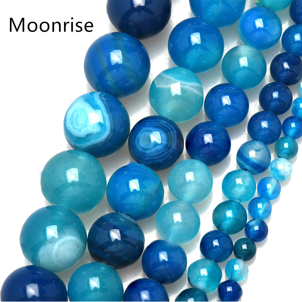 Stone Round Gemstone Natural Blue Striped Agate Loose Spacer Beads 4//6//8//10//12mm