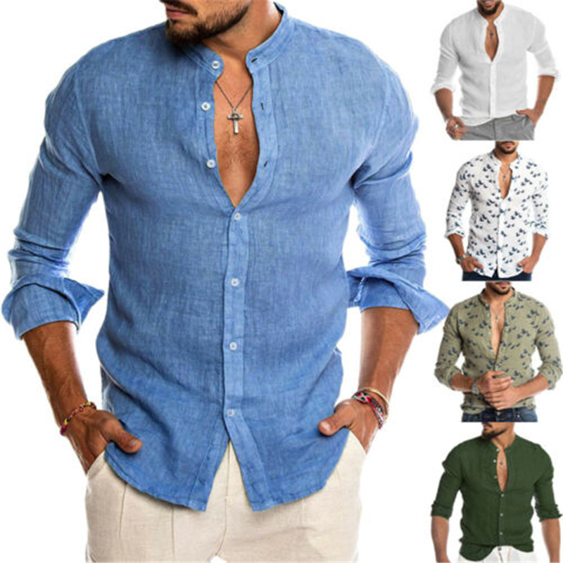 2019 Fashion Men Cotton Linen Shirts Casual Long Sleeve Stand Neck Tops Loose Blouse Men Clothes Swam Print Shirt Men Blouse Top