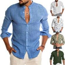 2019 Fashion Men Cotton Linen Shirts Casual Long Sleeve Stan