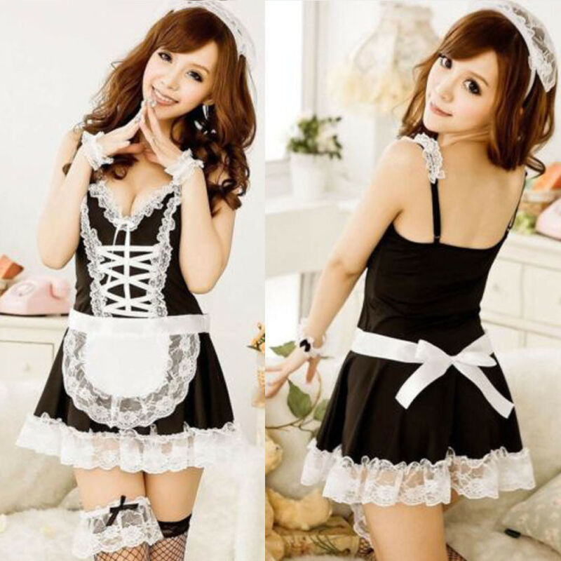 Hot Womens Halloween Anime Cosplay Maid Costume French Babydoll Dress Uniform Babydoll Dress Uniform Erotic Lingerie Role Play